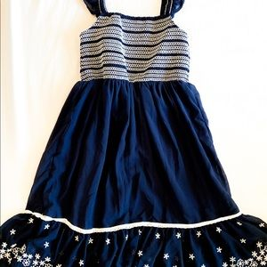 Navy blue chiffon dress with embroidered bottom
